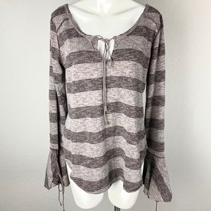 We The Free Striped Bell Sleeve Long Sleeve Top S